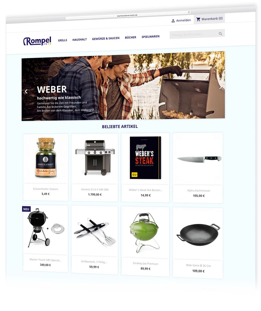 Referenz Rompel Shop Onlineshop Webshop
